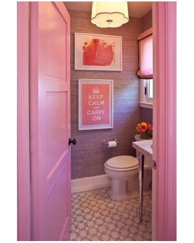 A teen girl's bathroom with walls lined in lilac grass cloth for depth and texture