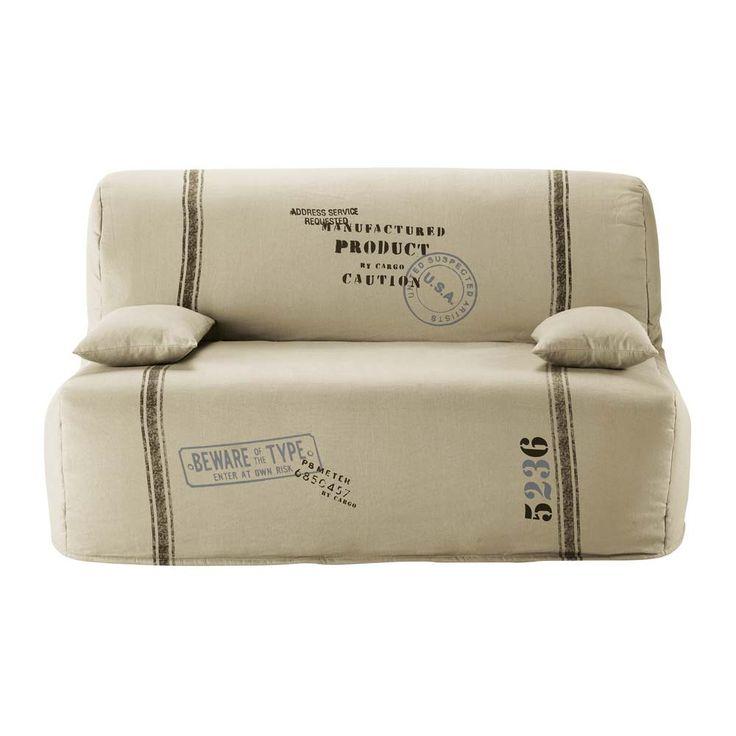 housse de canap bz en coton beige elliot salle. Black Bedroom Furniture Sets. Home Design Ideas