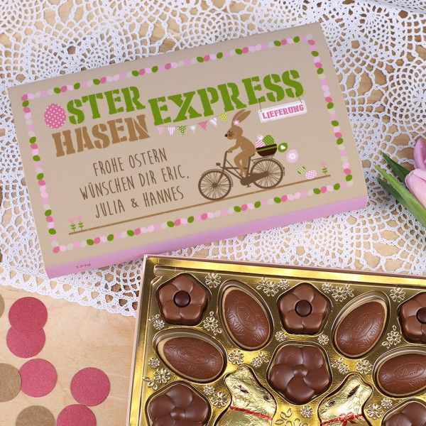 Pralinen vom Osterhasen Express Lindt Pralinen mit Wunschtext, 124 g  #Ostern #Schokolade #Geschenkidee