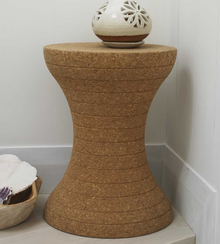 "Hourglass Cork Stool.  Sustainable cork is functional, portable and virtually indestructible, it's also light and forgiving. (13.5""W x 17.5""H)"