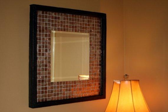 Cheap mirror from Target + wall tiles. Hallway. Stair landing.