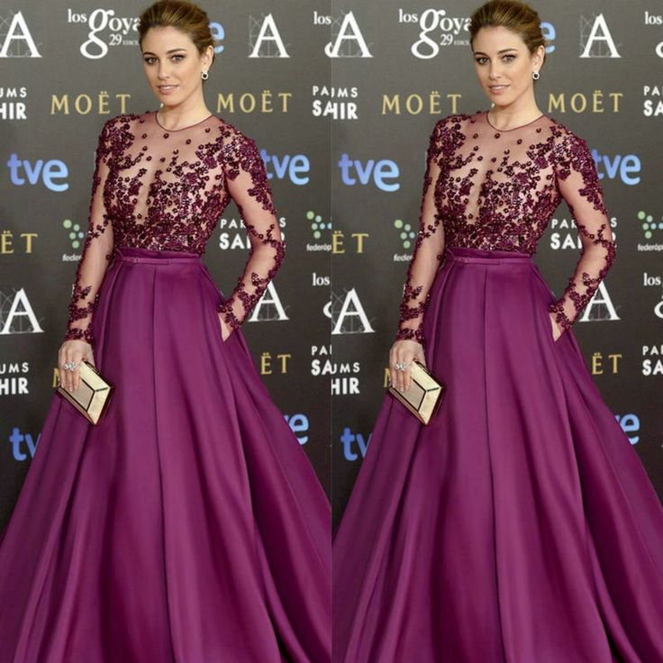 latest red carpet fashions | Goya Cinema Awards 2015 Red Carpet Long Sleeve Celebrity Dresses 2015 ...