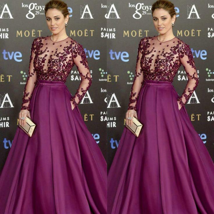 Goya Cinema Awards 2015 Red Carpet manga larga celebridad viste 2015 vestidos largos de noche formales de encaje y satén en Vestidos de Famosas de Bodas y Eventos en AliExpress.com | Alibaba Group