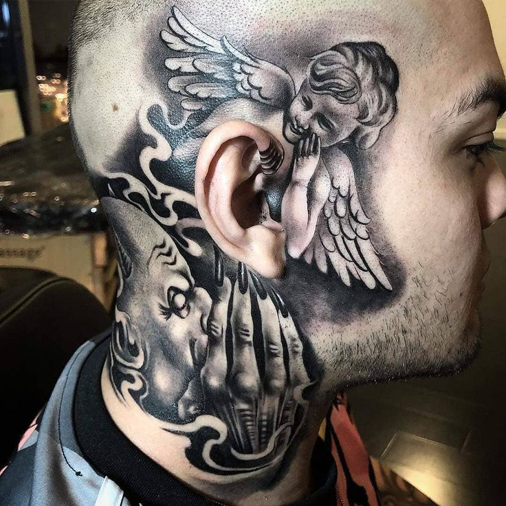 20 Angels And Demons Tattoos Neck Ideas And Designs