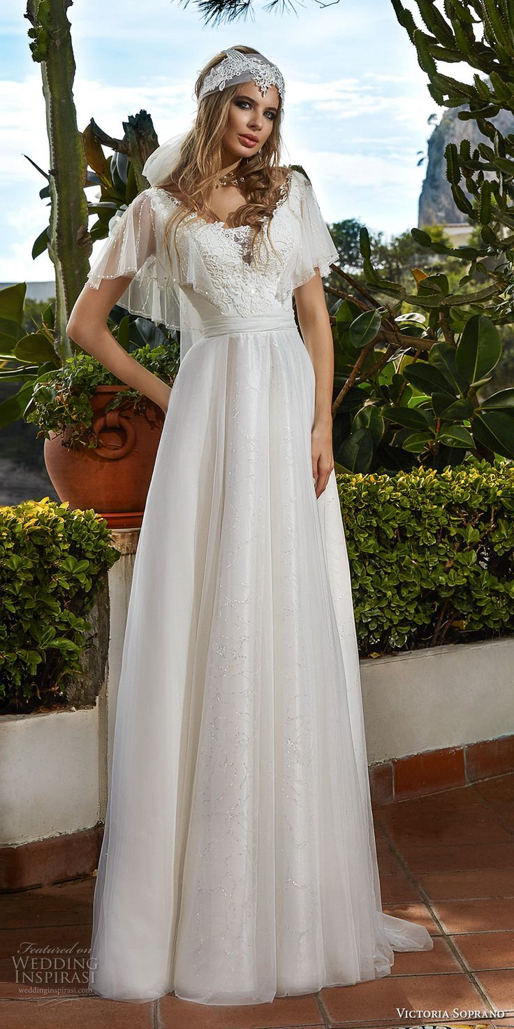 1227 best dream dresses images on pinterest short for Flutter sleeve wedding dress