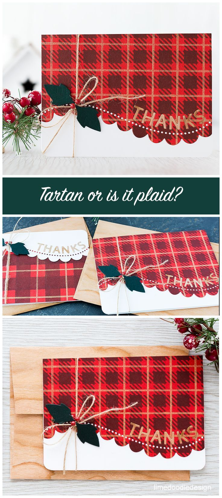 Tartan inspired thank you cards. Find out more by clicking on the following link: http://limedoodledesign.com/2015/11/plaid-or-is-it-tartan/