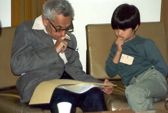 Maths whiz solves a master's riddle : Nature News & Comment  Paul Erdős and Terence Tao study maths at the University of Adelaide in Australia, in a photo taken when Tao was 10 years old.