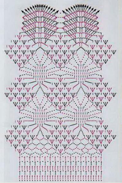 Длинная ажурная юбка вязанная крючком, схема вязания юбки   Вязаные юбки.ру
