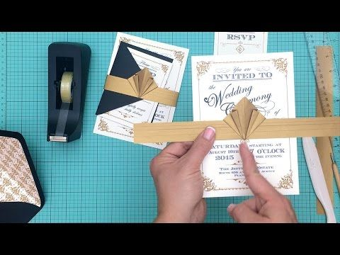 How to make a DIY ArtDeco Wedding Invitation and amazing belly band. Perfect for a vintage or Great Gatsby wedding - YouTube