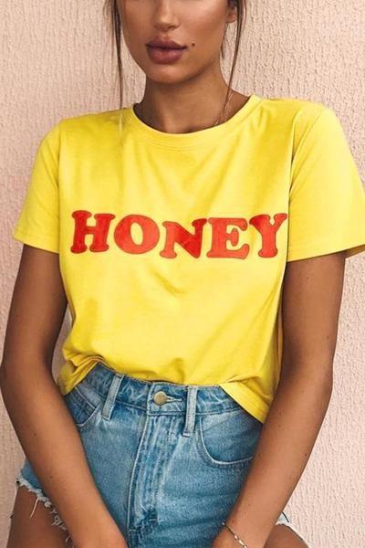 f7f1e28ec541 HONEY Short Sleeve Letters Print Yellow T-shirt