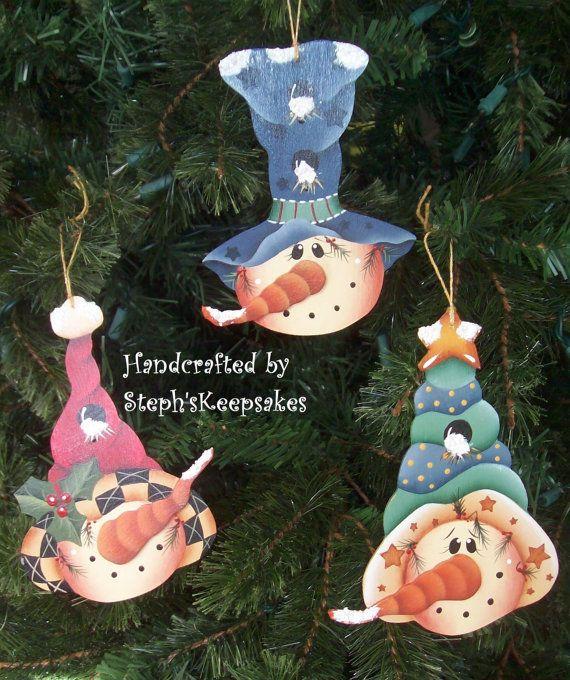 Snowmen Ornament Set Seasonal Holidays by stephskeepsakes on Etsy, $18.99