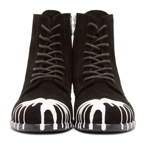 Miharayasuhiro Black & White Dropped Paint Combat Boots (€380) ❤ liked on Polyvore featuring men's fashion, men's shoes, men's boots, shoes, boots, mens zipper boots, mens leather shoes, mens leather military boots, mens studded shoes and mens lace up shoes