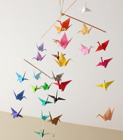 Mobile papier origami grues avec lien TUTO !