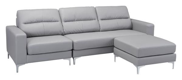 Versa Sectional Sofa with Chaise in Gray Leatherette on Steel Legs