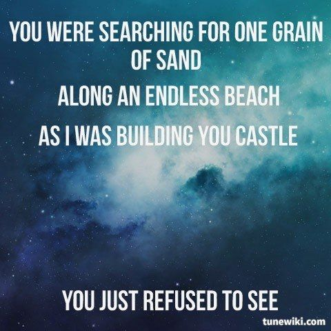 "-- #LyricArt for ""One Grain Of Sand"" by Ron Pope"