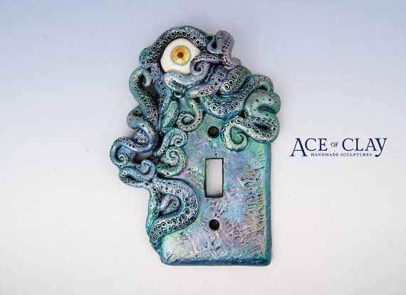 watercolor octopus light switch cover with eye sculpture decor home decor housewares bathroom beach tentacle handmade