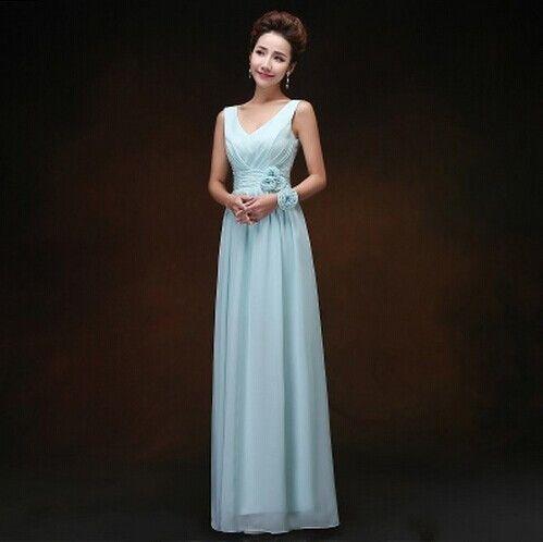 Blush Pink Bridesmaid Dress Floor Length Chiffon Sky Blue Bridesmaid Gown Vestido De Festa De Casamento Longo Cheap Under $50