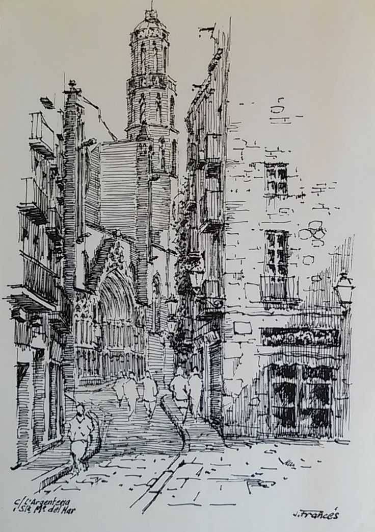 carrer Argenteria, Santa Maria del Mar. Barcelona, Joaquim Francés -india ink   tinta china-