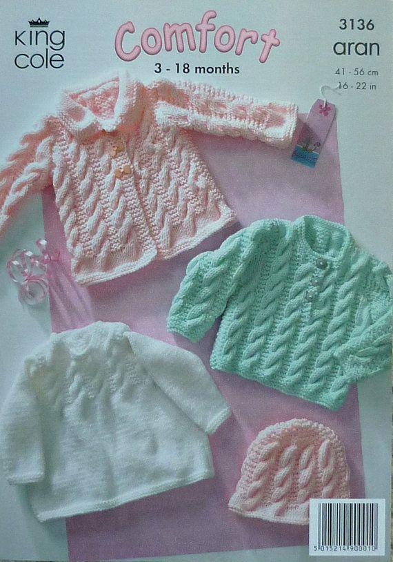 K3136 Babies Coat Jumper Hat Cable Outdoor Set Knitting Pattern Aran (Fisherman) King Cole