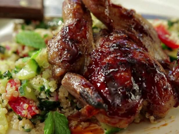 Grilled Quail with Pomegranate-Orange BBQ Sauce and Tabouli with Quinoa and Shredded Kale Recipe from Food Network-Bobby Flay-BBQ Addiction