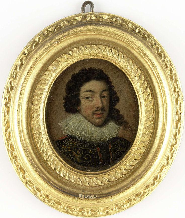 Anonymous | Lodewijk XIII (1601-43), koning van Frankrijk, Anonymous, c. 1625 | Portret van Lodewijk XIII (1601-43), koning van Frankrijk. Buste naar rechts, de ogen naar links gericht. Naar het portret door Rubens in de Norton Simon Foundation te Pasadena. Vroeger geïnterpreteerd als een portret van Frederick V (1596-1632), keurvorst van de Palts, koning van Bohemen. Onderdeel van de collectie portretminiaturen.