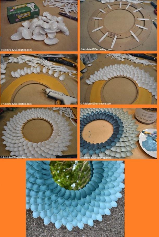 recycling | Spiegel van plastic lepels Door keet44
