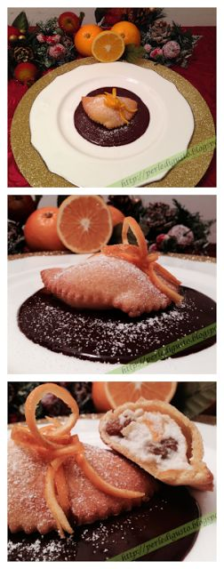 Ravioli dolci su fonduta di cioccolato fondente