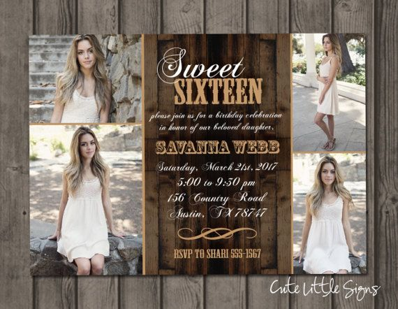 Sweet 16 Country Photo Birthday Invitation by CuteLittleSigns