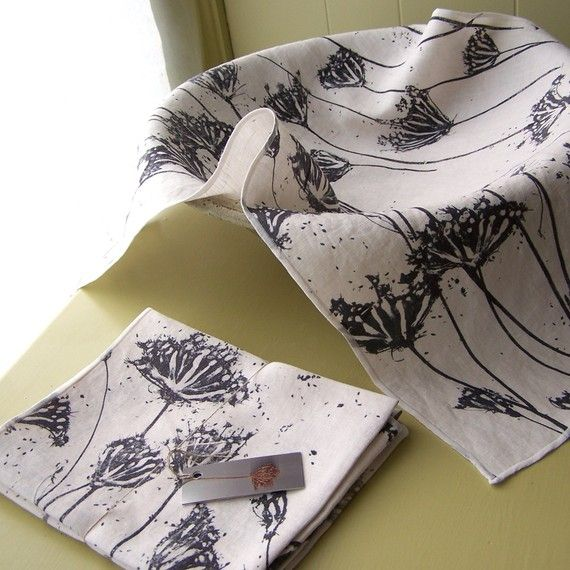 hand printed linen cotton tea towels set of 2 by susanshinnick, $20.00