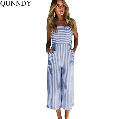 29c9e6e63f3 Qunndy Women Spaghetti Strap Sexy Striped Sleeveless Back Bow Tie Beach Jumpsuits  Summer Playsuit Rompers Womens Jumpsuit Girl