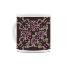 Dark brown and violet art nouveau floral square pattern Mug