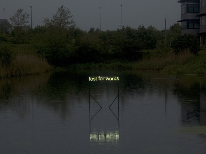 """'Lost for Words' Neon, 2013 by artist Tim Etchells"" The appearance of the water blurring the words here has a pretty deep impact on the meaning of the phrase itself."