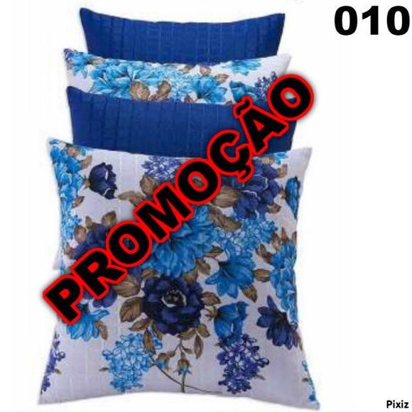 Jogo de Almofadas Conjunto Azul Kit C/ 4
