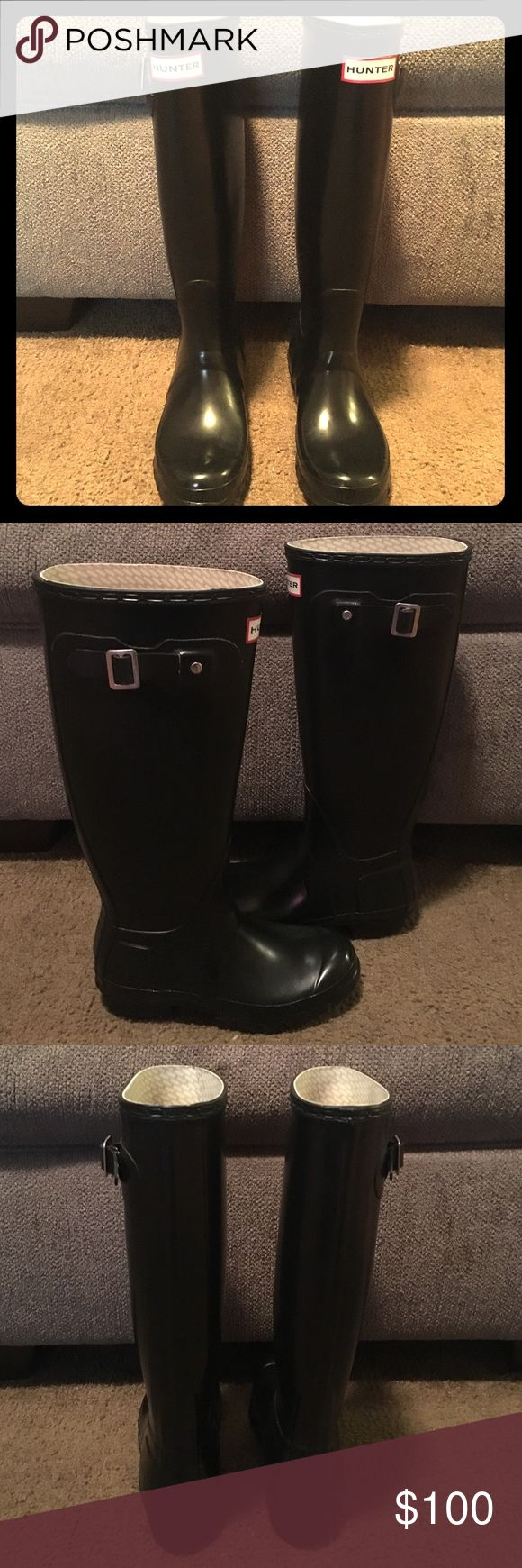 Hunter Rain Boots Like new Tall Hunter Rain boots. Worn twice, but not for me. In new condition with no marks of any kind. I don't have the box, but I do have the original tags. These are black!! Hunter Boots Shoes Winter & Rain Boots