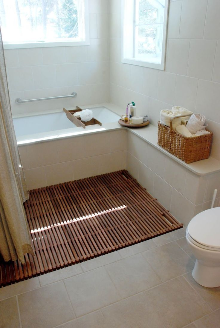 Interesting Bathroom Decoration With Bathroom Floor Covering Ideas: Casual Small Bathroom Decoration Using White Bathroom Wall Paint Including Light Brown Wicker Picnic Basket Towel Rack And Solid Walnut Wood Bathroom Floor Covering Ideas ~ coolhousez.net Bathroom Inspiration