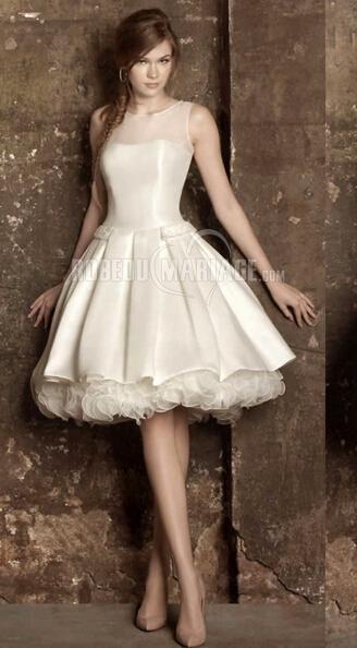 Robe de mariée courte sans manche col rond en satin élastique organza [#ROBE2011108] - robedumariage.info
