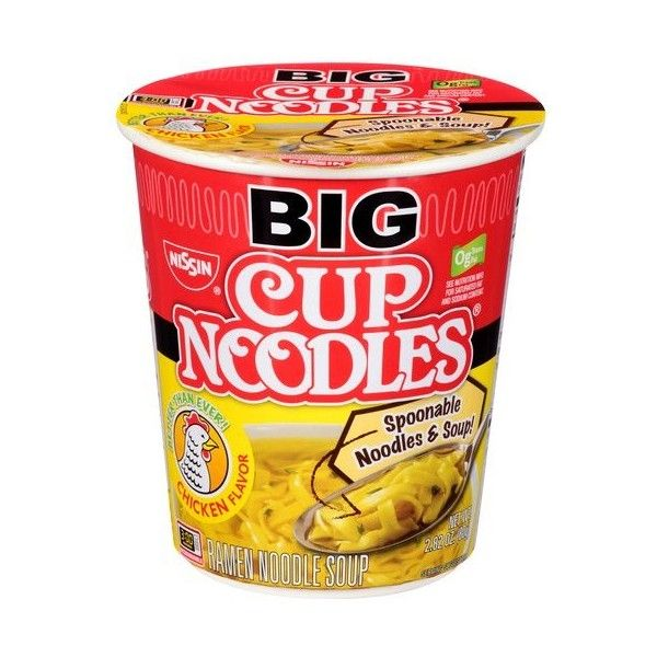 Nissin Big Cup Noodles Chicken Flavor Ramen Noodle Soup, 2.82 oz ($3.75) ❤ liked on Polyvore featuring food, food // drinks, food & drinks and food and drink