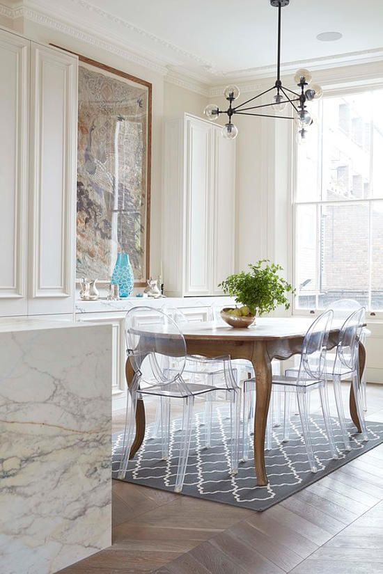 Fine dining with ghost chairs #dining #ghostchairs