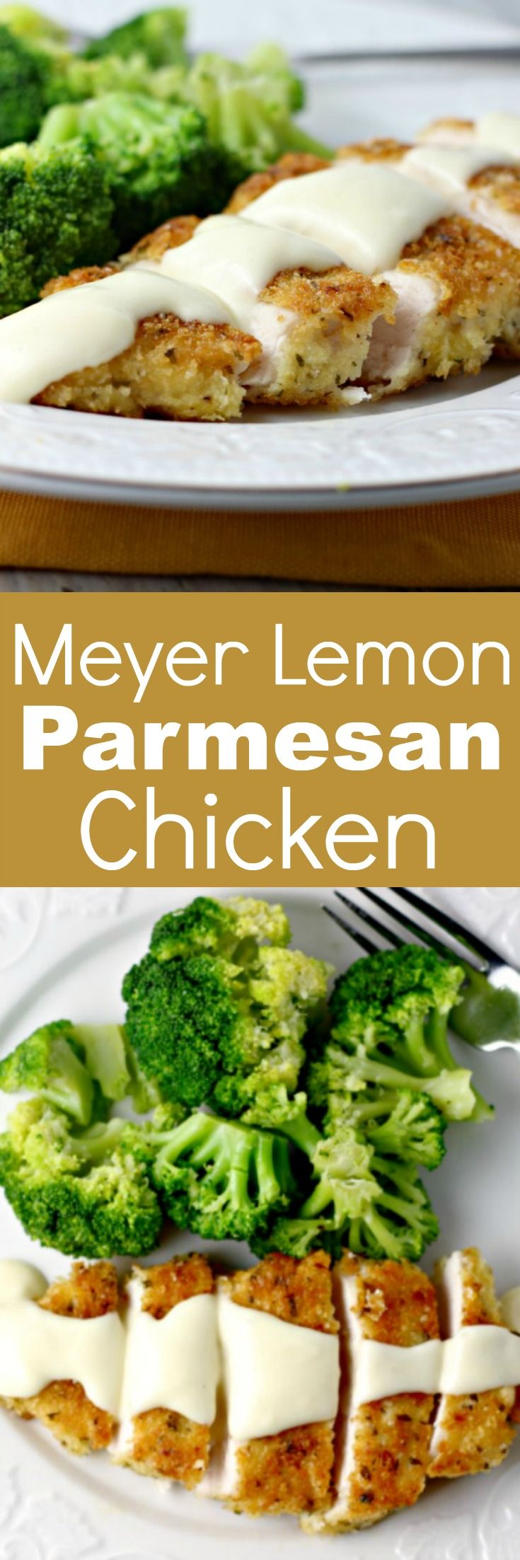 Meyer Lemon Parmesan Chicken | Renee's Kitchen Adventures:  Crispy crunchy lemony chicken with a creamy lemon sauce!  Ready in about 30 minutes!
