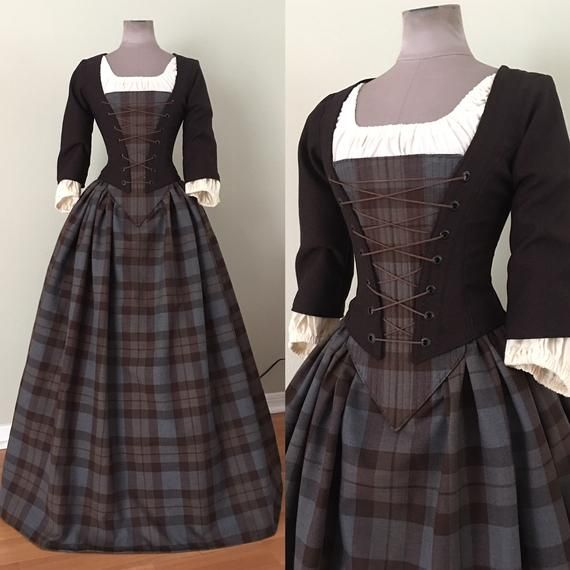 Outlander Sassenach Clan Tartan Long Skirt, Bodice with stomacher panel and chemise top – Custom Size by LoriAnn Costume Designs