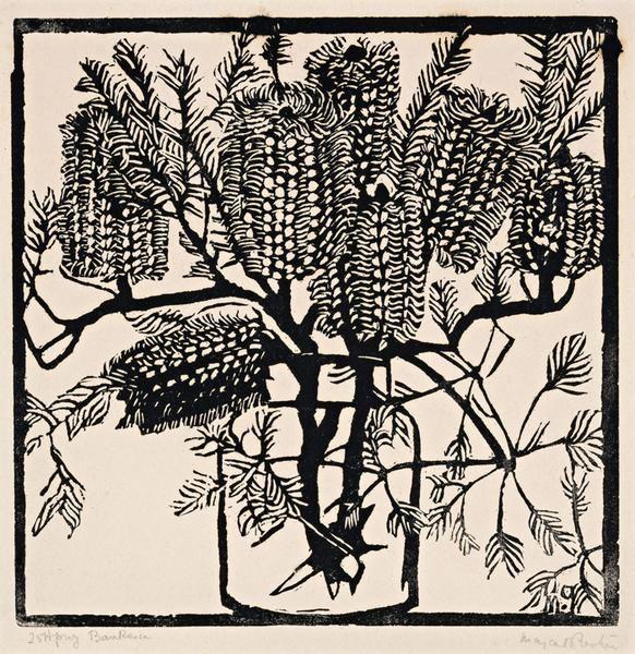 Banksia, c. 1925 Woodcut, 25 x 25 cm by Margaret Rose (MacPherson) Preston (1875-1963) Australia