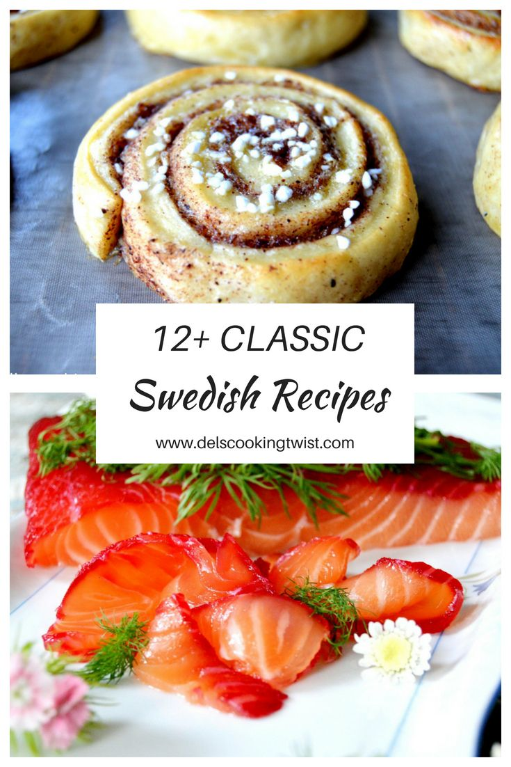 "12+ classic Swedish recipes from the traditional cinnamon rolls  ""kanelbullar"" to the salmon ""gravlax"". Discover them all! 