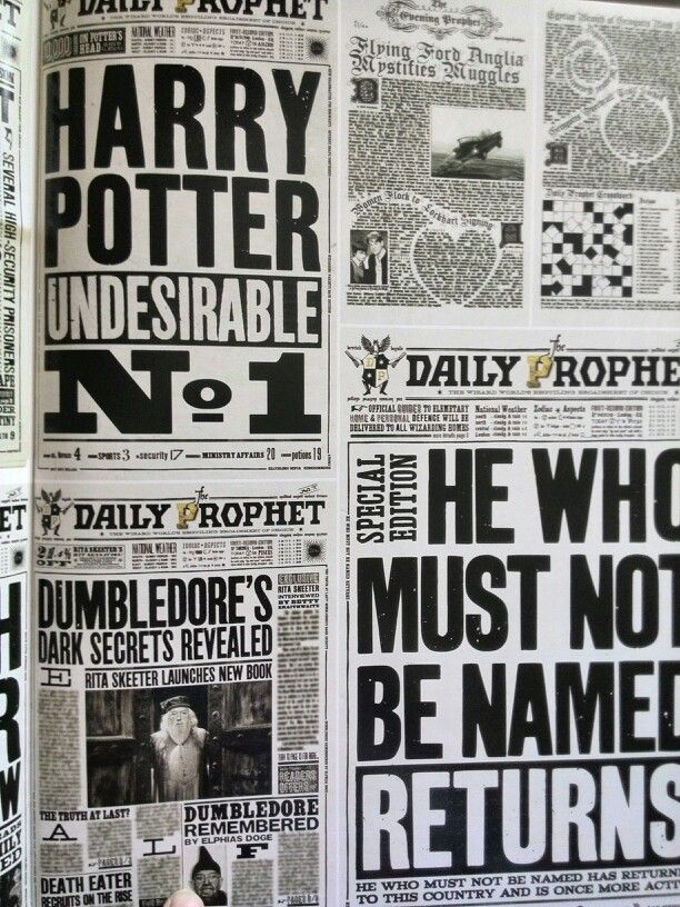 Harry Potter: Page to screen book photo- Newspaper designs