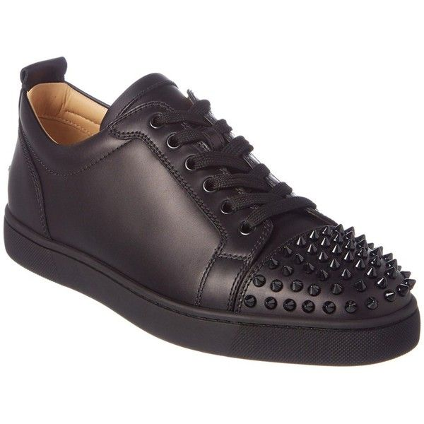 Christian Louboutin Louis Junior Spikes Leather Sneaker ($756) ❤ liked on Polyvore featuring men's fashion, men's shoes, men's sneakers, black, shoes, mens black sneakers, mens spiked shoes, mens black lace up shoes, christian louboutin mens sneakers and mens spiked sneakers
