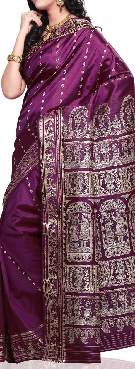 Baluchari Silk Saree got its name from a village called Baluchar (meaning sea-beach in Bengali) near Murshidabad. The sarees are handwoven and usually depict detailed scenes from Myths.