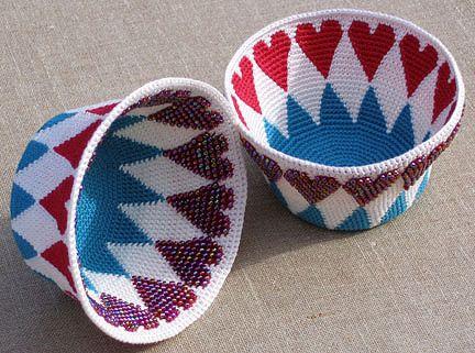 Ravelry: Lovely Reversible Bead Tapestry Crochet Basket pattern by Carol Ventura