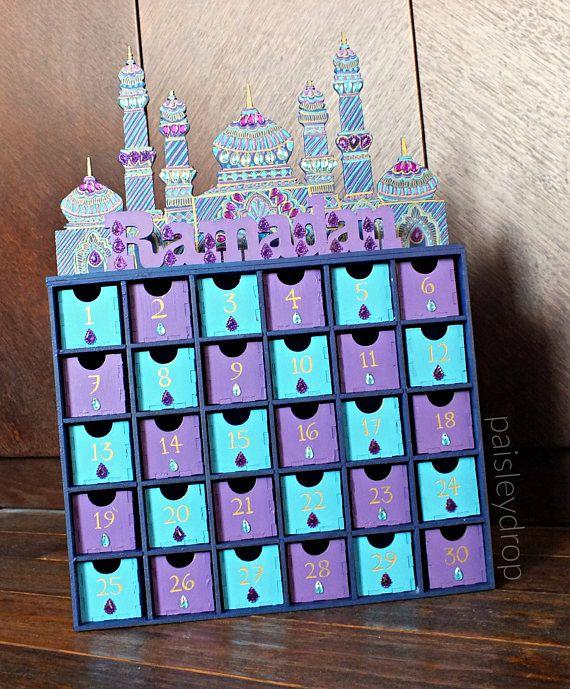 Midnight Ramadan Mosque Advent Calendar MDF Gold Purple Blue