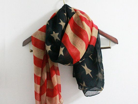 Vintage American Flag Scarf Soft and Large American by LitoPinkOwl, $15.00