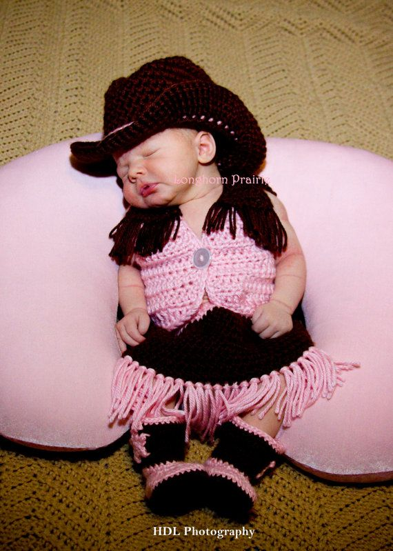 Baby Cowgirl Set Hat Boots Vest Skirt Crochet By