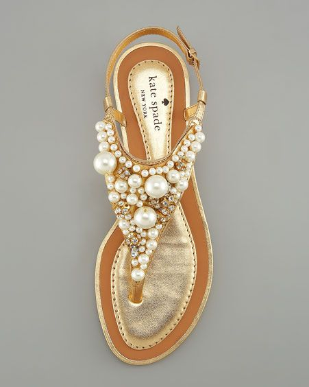 kate spade pearl beach sandals shoes flats. I want!!!